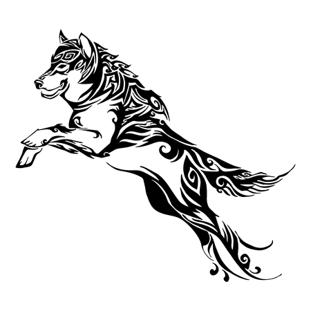 wolf jump design for silhouette tribal tattoo vector with white isolated background