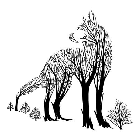 Misterioso lobo agresivo mirar hacia atrás silueta doble exposición mezcla árbol dibujo tatuaje vector con fondo blanco aislado Ilustración de vector