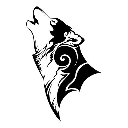 Wolf head and howl tribal tattoo vector with white isolated background