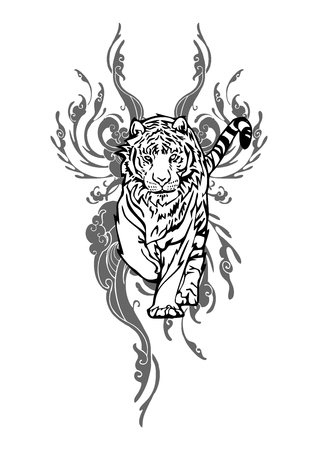 Tiger walking with cloud design for Asian Tattoo vector with white isolated Illustration