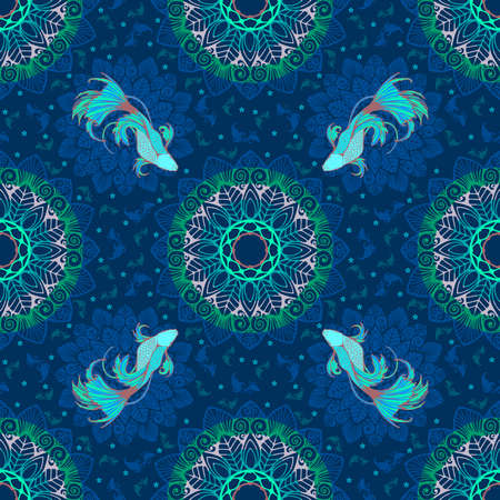 Betta splendens fish or fighting fish design with lagoon concept and decorative with mandala in fantasy blue tone for seamless pattern vector with blue background Illustration