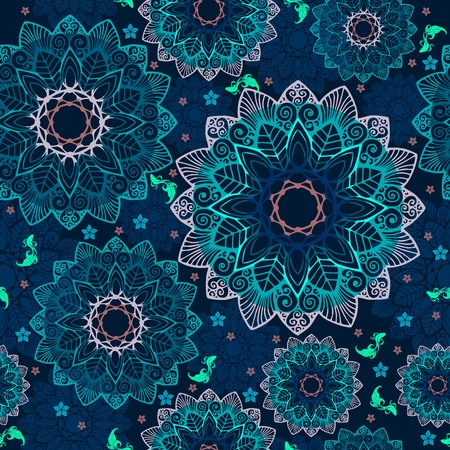 Abstract Mandala flower and little fish design like pool concept free hand drawing seamless pattern vector with fantasy deep blue tone background Illustration