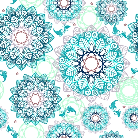 Abstract Mandala flower and little fish design like pool concept free hand drawing seamless pattern vector with fantasy deep blue tone background Иллюстрация