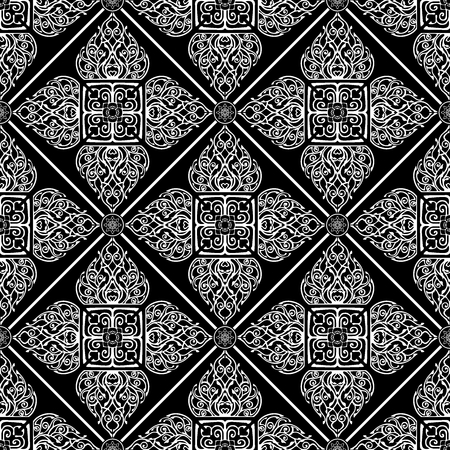Thai traditional flower in diamond square shape Ornament seamless pattern art luxury vector motif black and white tone background Ilustrace