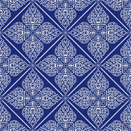 Thai traditional flower in diamond square shape Ornament seamless pattern art luxury vector Porcelain blue tone background
