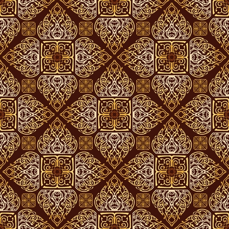 Thai traditional flower in diamond square shape Ornament seamless pattern art luxury golden brown tone background for Buddha religious activity