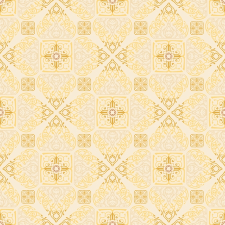 Thai traditional flower in diamond square shape Ornament seamless pattern art luxury yellow light golden tone background for Buddha religious activity