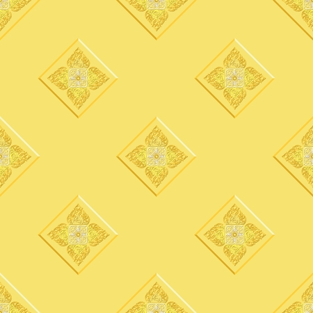 Lai Thai yellow royal oriental seamless pattern texture vector background for Royal and Buddha activities graphic yellow background Illustration