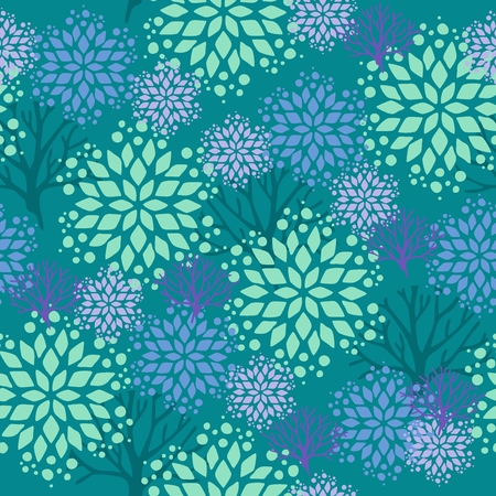 Snowflake or gingerbread decorate and tree for winter or Christmas festival seamless pattern background with blue green theme Illustration