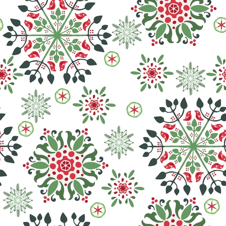 Snowflake or gingerbread decorate and wreath for winter or Christmas festival seamless pattern vector background with white green and red theme Vektorové ilustrace