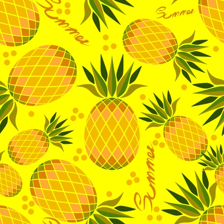 pineapple graphic seamless basic pattern vector with yellow background