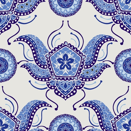 Paisley boho indigo blue or Porcelain ิblue chic fashion style design for seamless pattern vector background Stock Illustratie