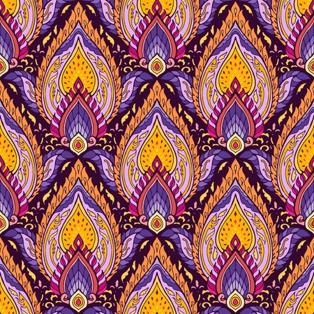 Thai boho chic colorful ornament Indies from lotus mandala flower  for print fabric vector seamless background