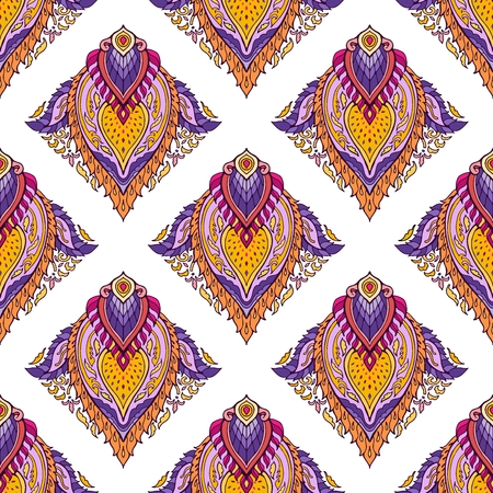 Thai boho chic colorful ornament design from lotus mandala flower  for print fabric vector seamless with white background Illustration