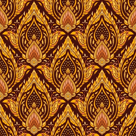 Thai royal Boho luxurious ornament design seamless pattern vector with yellow brown golden tone background