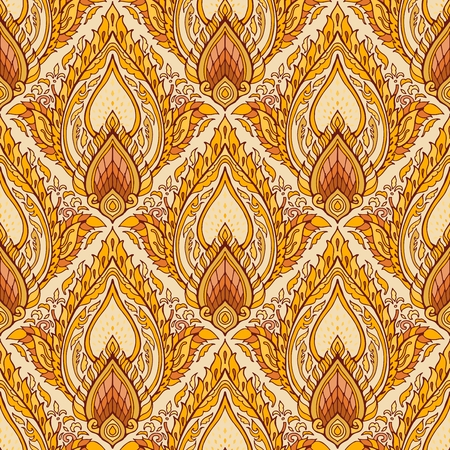 Thai royal Boho luxurious ornament design seamless pattern vector with yellow brown golden tone background Stock Vector - 115736632