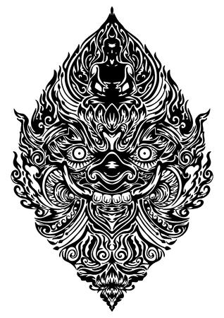 Tao Wassuwan, Vaisravana, Vessavana Thao Wes Suwan es el Dios de los activos y el diseño de Buda para el dibujo lineal tradicional tailandés del vector del tatuaje neo tailandés