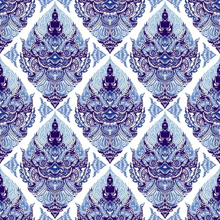 Tao Wassuwan ,Vaisravana, Vessavana Thao Wes Suwan is the Giant God of assets and Buddha Design for thai traditional line drawing neo thai tattoo vector seamless pattern with Porcelain indigo blue