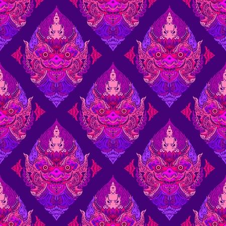Tao Wassuwan, Vaisravana, Vessavana Thao Wes Suwan ist der riesige Gott der Vermögenswerte und Buddha-Design für thailändische traditionelle Strichzeichnungen Neo-Thai-Tattoo-Vektor nahtloses Muster mit Proton-Lila-Ton Vektorgrafik