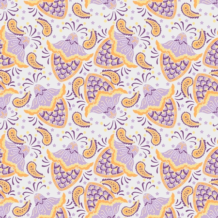 Paisley mandala flower abstract pattern seamless vector background with purple and yellow tone Vecteurs