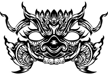 Diseño de cara de gigante tailandés para fondo blanco de vector de silueta de tatuaje neo tailandés que significa poder de defensa y rico Ilustración de vector