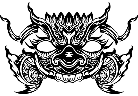 Thai Giant face design for Thai neo tattoo Silhouette vector white background it mean defense power and rich