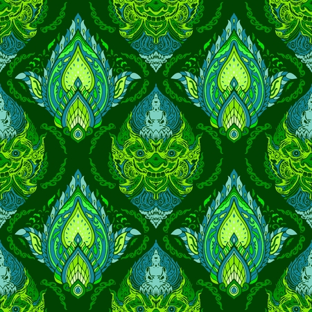 Linie thailändischer König des Gottes Giant und Buddha mit Blütenblatt-Blumendesign für nahtlose Mustervektor mit lebendigem grünem und blauem Farbtontapetenhintergrund