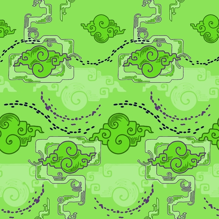 Chinese cloud design with trump trick style with alien green blue tone seamless pattern vector background