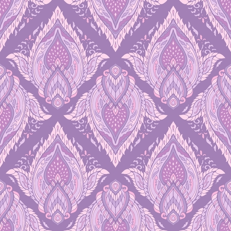 line Thai or Thai traditional ornament design with Boho tribal style petal leaf of lotus flower seamless pattern vector background purple tone color Illustration