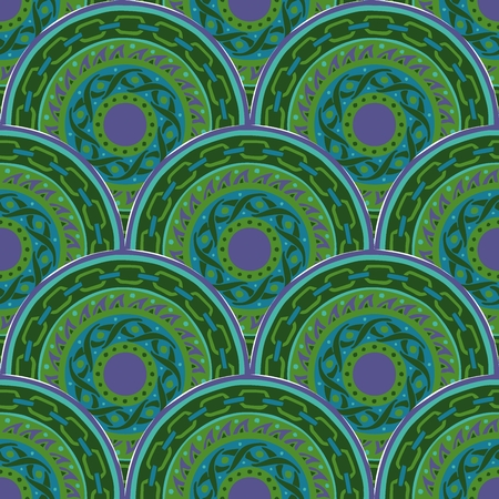 Africa tribal tattoo scale design with chain seamless pattern background white violet blue and green tone Ilustração
