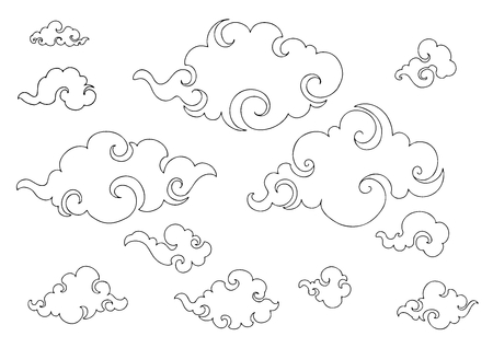 Chinese Cloud or Japanese cloud or Orientate cloud low detail illustration sketch doodle drawing clip art set with white background vector