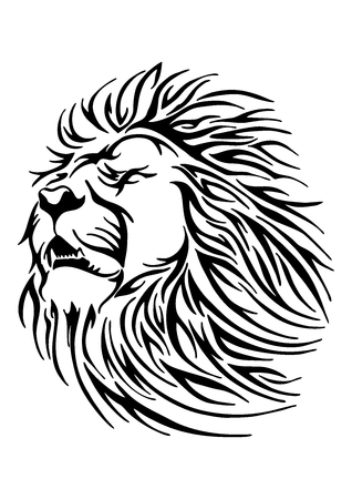 black Silhouette frighten greatly lion tribal illustration sketch drawing vector tattoo with white background