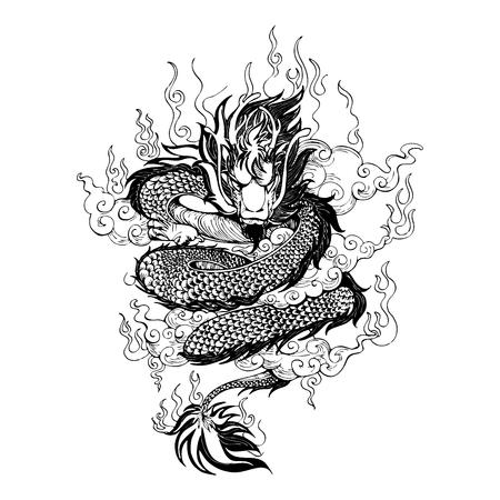 Dragón de Asia con fuego y nubes en el cielo, dibujo vectorial de tatuajes con fondo blanco.