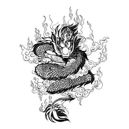 Asia Dragon with fire and cloud in sky drawing tattoo vector with withe background