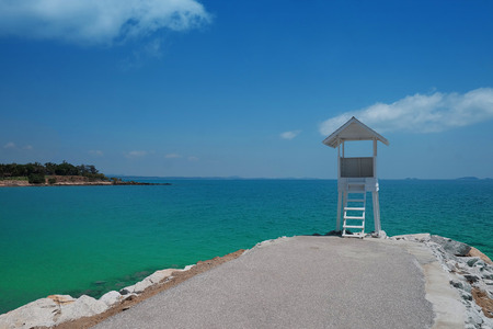old white wooden hut with sea beach pier at khao laem ya in mu ko samet-national park rayong province thailand with blue sky background Standard-Bild - 120812845