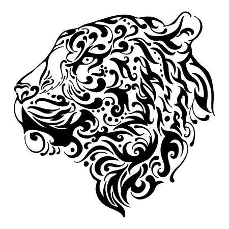 Silhouette Abstract Tiger side head tribal tattoo