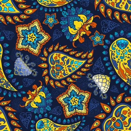 colorido, azul, amarillo, rojo, paisley, vector, seamless, patrón, floral, plano de fondo, en, indio, estilo