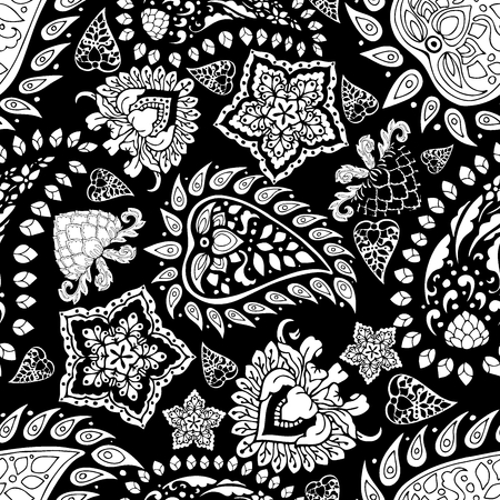 motif black and white paisley vector  seamless pattern floral background in Indian style