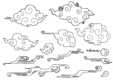 rounded right angle oriental cloud or Japanese cloud or Chinese cloud and wind drawing doodle  element  set vector Stock Photo