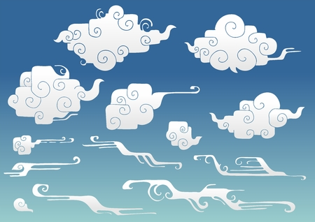rounded right angle oriental cloud or Japanese cloud or Chinese cloud and wind drawing doodle  element  set vector with blue sky background