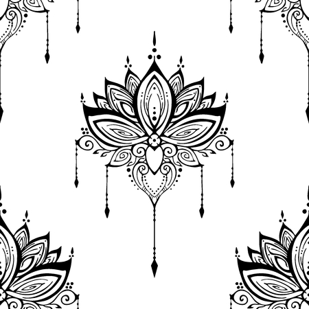 illustration mehendi Lotus flower henna ornamental ethnic zen tangle  motif tattoo seamless pattern vector black and white for printing Иллюстрация