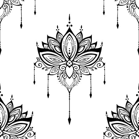 illustration mehendi Lotus flower henna ornamental ethnic zen tangle  motif tattoo seamless pattern vector black and white for printing Vectores