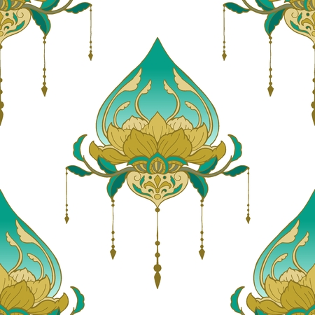 Lotus henna mandala buddha meditation element style  with yellow golden and  green tone seamless pattern vector background for make fabric printing