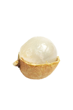 close up Half of longan fruit with white isolate background