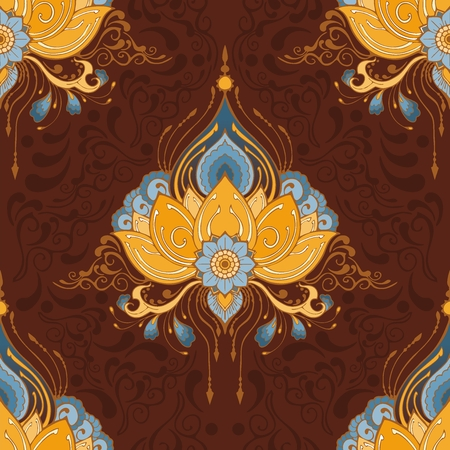 indian lotus flower vector seamless-pattern mehndi henna tattoo style yoga meditation or zen decoration background with yellow brown and blue tone Illustration