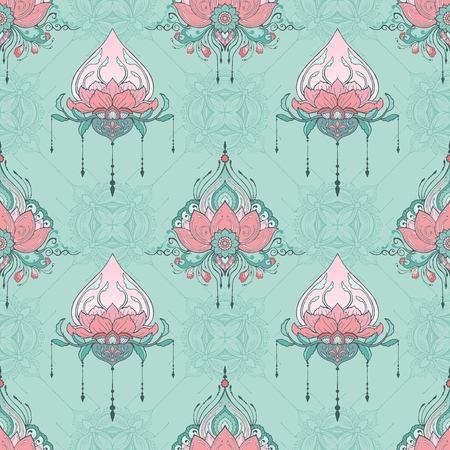 indian lotus flower vector seamless pattern mehndi henna tattoo style yoga meditation or zen elemental decoration background with pink and green pastel tone Illustration