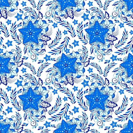 Porcelain Henna flower elemental illustration vector with indigo blue tone background Ilustração