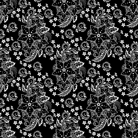 motif Henna flower elemental illustration vector black and white tone background