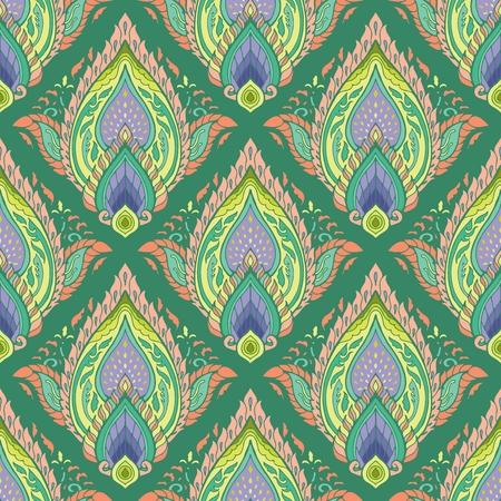 illustration pastel oriental Thai style elemental mandala boho flame and petal concept seamless pattern vector with green background Ilustração