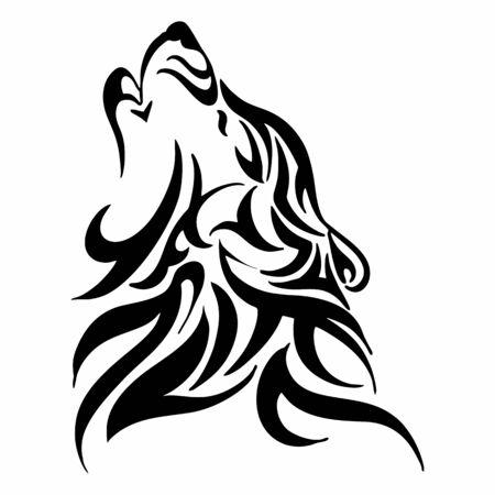 isolat tribal de vecteur de tatouage de tête de hurlement de loup